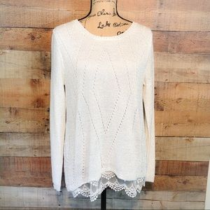 Sioni Studio Sparkling Lace Bottom Long Sleeve Top